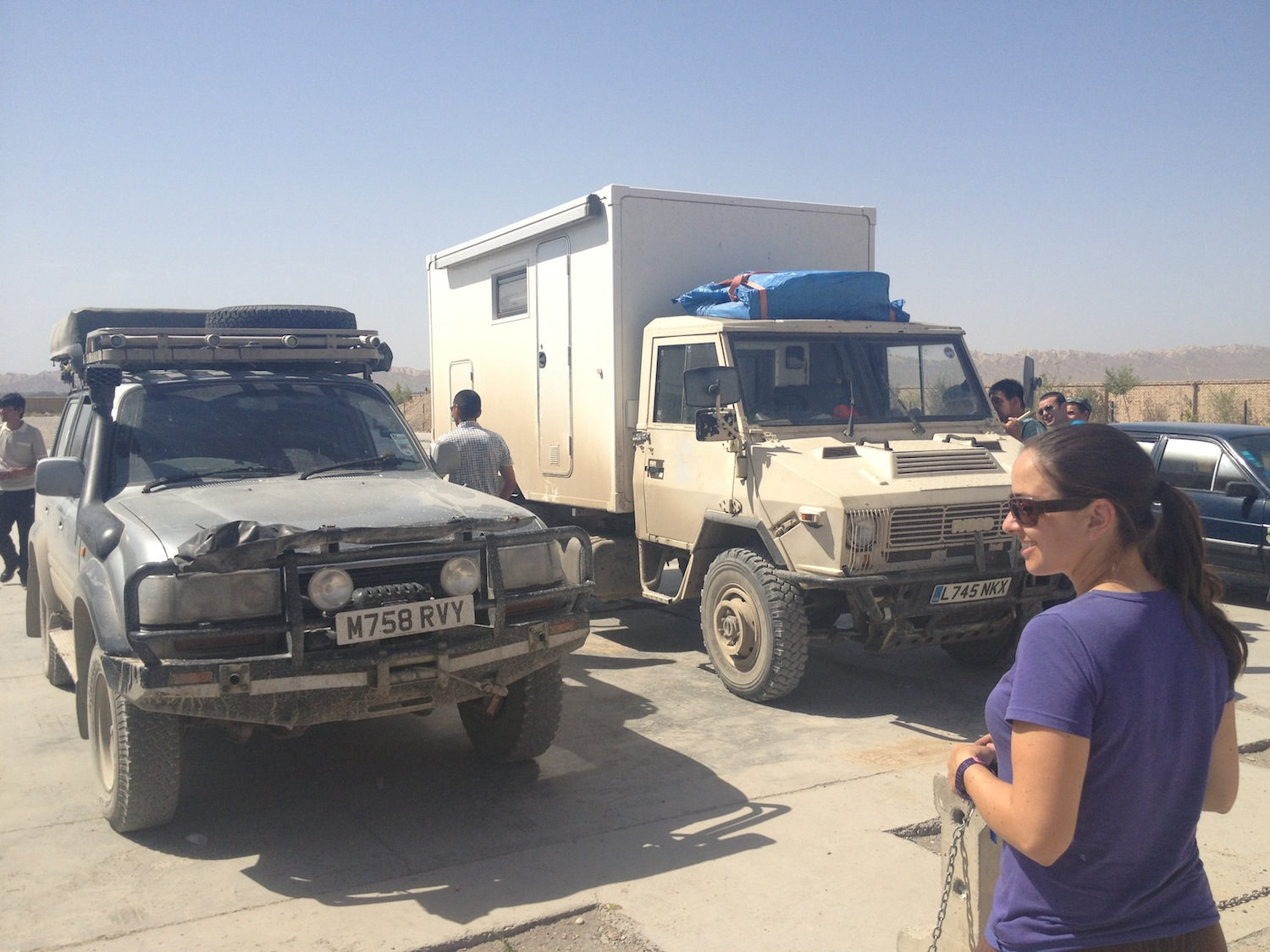 Boris & Ivor at Vehicle Inspection (Kashgar, China)