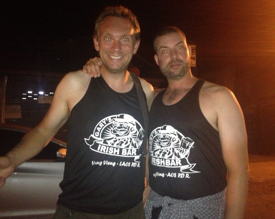 Iain and I in our flash outfits from Gary's Irish bar (Vang Vieng, Laos)
