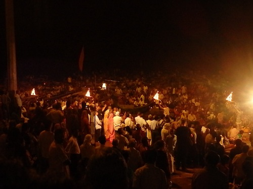 Evening Ganga Aarti Ceremony at Dashashwamedh Ghat (Varanasi, India)
