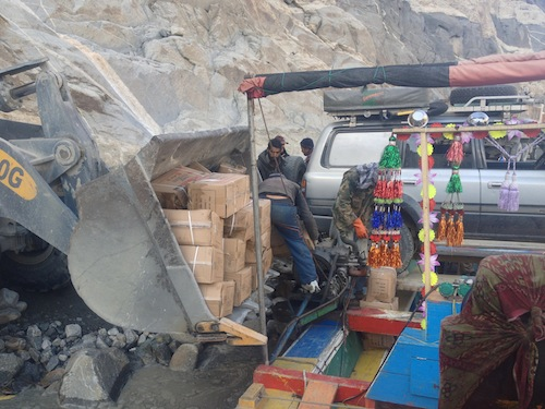 Unloading a few boxes of explosives (Attabad Lake, Pakistan)
