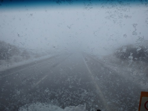 White out on the way to Tehran (Iran)