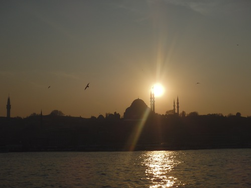 Across the Bosphorus Straits at sunset (Istanbul, Turkey)